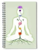 Meditating Woman With Chakras Shown As Flowers  Spiral Notebook