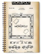 Monopoly Board Game Patent Art  1935 Spiral Notebook
