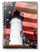 Nobska Lighthouse On American Flag Spiral Notebook