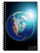 North America 3d Render Planet Earth Dark Space Spiral Notebook