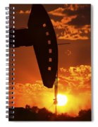 Oil Rig Pump Jack Silhouetted By Setting Sun Spiral Notebook