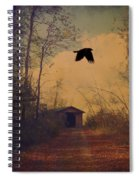 Lone Crow Flies Over The Old Country Road  Spiral Notebook