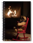 Old Teddy Bear Sitting Front Of The Fireplace In A Cold Night Spiral Notebook