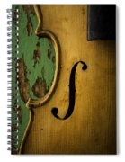Old Violin Against Green Wall Spiral Notebook