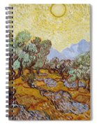 Olive Trees With Yellow Sky And Sun Spiral Notebook