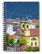 Panoramic Aerial View Of Innsbruck And Hafelekarspitze Mountain Spiral Notebook