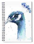 Peacock Watercolor Spiral Notebook