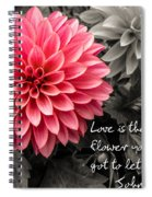 Pink Dahlia With John Lennon Quote Spiral Notebook
