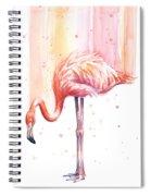 Pink Flamingo Watercolor Rain Spiral Notebook