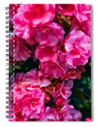 Pink Flowers Green Leaves Spiral Notebook
