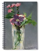 Pinks And Clematis In A Crystal Vase Spiral Notebook