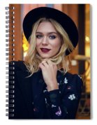 Portrait Of A Girl In Black Clothes And A Hat On The Street In The Evening Spiral Notebook