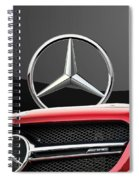 Red Mercedes - Front Grill Ornament And 3 D Badge On Black Spiral Notebook