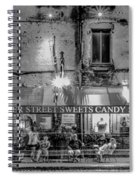 River Street Sweets Candy Store Black White  Spiral Notebook