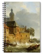 Rowing Boat In Stormy Seas Near A City Spiral Notebook