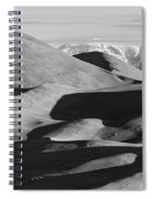 Monochrome Sand Dunes And Rocky Mountains Panorama Spiral Notebook