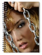Sensual Woman Face Behind Chains Spiral Notebook