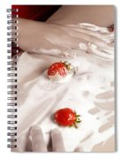 Sexy Nude Woman Body Covered With Cream And Strawberries Spiral Notebook