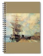 Ship In Harbour Rouen Albert-charles Lebourg Spiral Notebook