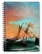 Ships In A Storm At Sunset Spiral Notebook