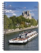 Sightseeing Boat On River Seine To Louvre Museum. Paris Spiral Notebook