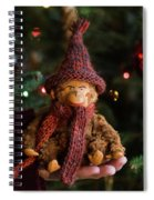 Silly Old Monkey Toy In A Child Hands Under The Christmas Tree Spiral Notebook