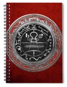 Silver Seal Of Solomon - Lesser Key Of Solomon On Red Velvet  Spiral Notebook