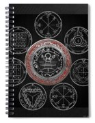 Silver Seal Of Solomon Over Seven Pentacles Of Saturn On Black Canvas  Spiral Notebook