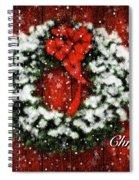 Snowy Christmas Wreath Card Spiral Notebook