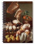 Still Life With Dressed Game, Meat And Fruit Spiral Notebook