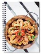 Stir Fry Prawns In Spicy Asian Pineapple And Herbs Sauce Spiral Notebook