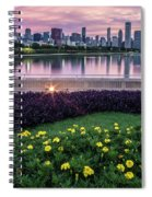 summer flowers and Chicago skyline Spiral Notebook