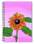 Illustration Of A Sunflower On A Pink Background Spiral Notebook