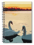 Swans At Sunset Spiral Notebook