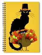 Thanksgiving Le Chat Noir With Turkey Pilgrim Spiral Notebook