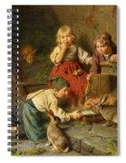 Three Children Feeding Rabbits Spiral Notebook