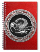 Treasure Trove - Sacred Silver Scorpion On Red Spiral Notebook