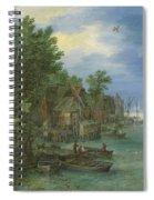 View Of A Village Along A River Spiral Notebook