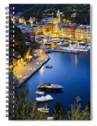 View Of The Harbour At Dusk  Portofino Spiral Notebook