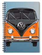 Volkswagen Type 2 - Black And Orange Volkswagen T 1 Samba Bus Over Blue Spiral Notebook