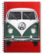 Volkswagen Type 2 - Green And White Volkswagen T 1 Samba Bus Over Red Canvas  Spiral Notebook