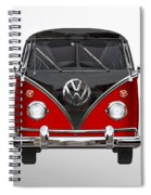 Volkswagen Type 2 - Red And Black Volkswagen T 1 Samba Bus On White  Spiral Notebook