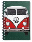 Volkswagen Type 2 - Red And White Volkswagen T 1 Samba Bus Over Green Canvas  Spiral Notebook