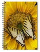 White Butterfly On Sunflower Spiral Notebook