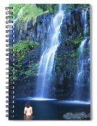 Woman At Waterfall Spiral Notebook