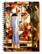 Woman In Front Of A Large Illuminated Window Spiral Notebook