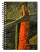 Woman In Red Spiral Notebook