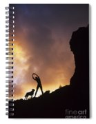 Woman Stretching On A Mountain Spiral Notebook