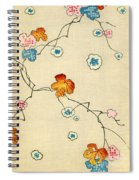 Woodblock Print Of Fall Leaves Spiral Notebook