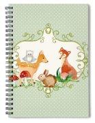 Woodland Fairytale - Animals Deer Owl Fox Bunny N Mushrooms Spiral Notebook